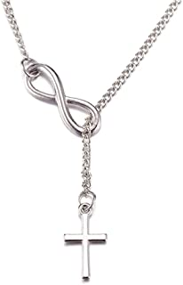 925 Sterling Silver Plated Smooth Infinity Cross Religious Pendant Necklace,20inch chain