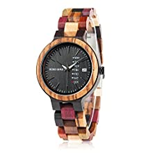 Womens Watches Wooden Colorful Bamboo Watches with Week Date Display Handmade Natural Wood Casual Wirst Watches for Ladies, Female Perfect