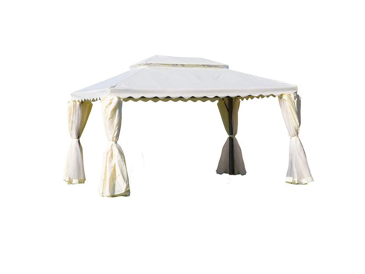 ERREBI - Cenador Blanco 3 x 4 All.Cop.Poly+PVC Cortina y mosquitera: Amazon.es: Jardín
