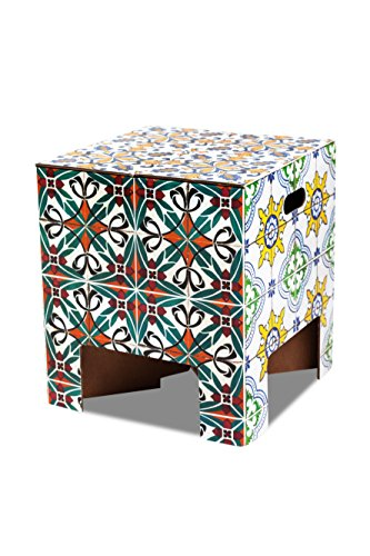 Dutch Design kruk - portugese tiles - karton - 30x30x33 cm