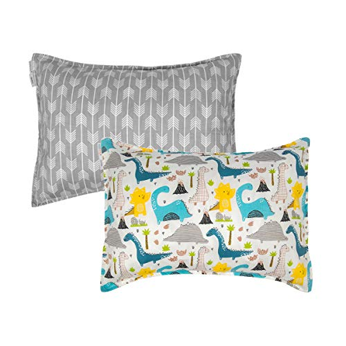 ALVABABY Toddler Pillowcases, Fits 13 x 18,12x 16 Kids Pillow, 2 Pack Organic Cotton Baby Pillow Cover Envelope Travel Pillow Cases for Boys Girls, Arrows+Dinosaurs, 2TPW10