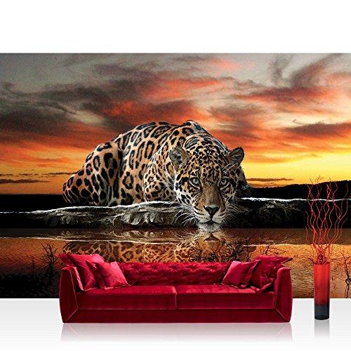 Vlies Fototapete 300x210 cm PREMIUM PLUS Wand Foto Tapete Wand Bild Vliestapete - Tiere Tapete Jaguar Sonnenuntergang Wasser orange - no. 315