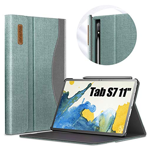 INFILAND Hülle für Samsung Galaxy Tab S7 11 2020, Business Folio Bezug Hülle Tasche für Samsung Galaxy Tab S7 11 (T870/T875) 2020, Auto Schlaf/Wach, Minzgrün