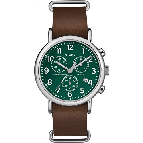 Timex Unisex TW2P97400 Weekender Chrono Brown Leather Slip-Thru Strap Watch