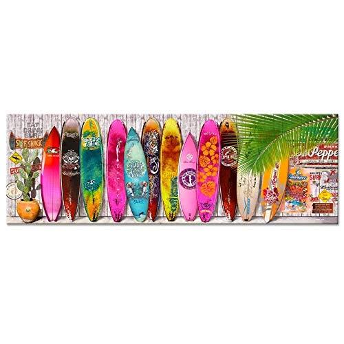 XKLDP Verano Tabla de Surf Lienzo Pared Arte Pintura Cartel Imagen impresión decoración del hogar-50x150cmx1 Piezas sin Marco