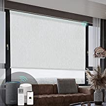 Hauschen Smart Motorized Roller Shades Blinds for Window with Remote, 100% Blackout Electric Roller Shades, Compatible with Alexa Google Home Smart Device, Customized Size (Dreamscape Grey)