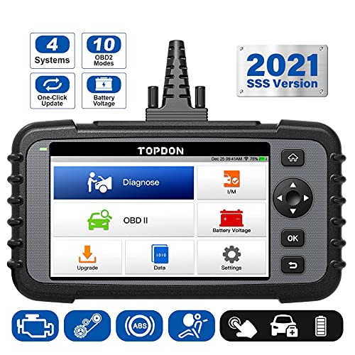 OBD2 Scanner TOPDON ArtiDiag500, Engine ABS SRS Transmission Scan Tool, All OBD2 Test Code Reader, AutoVIN Diagnostic Tool, Car Battery Voltage Test, Wi-Fi Free Update