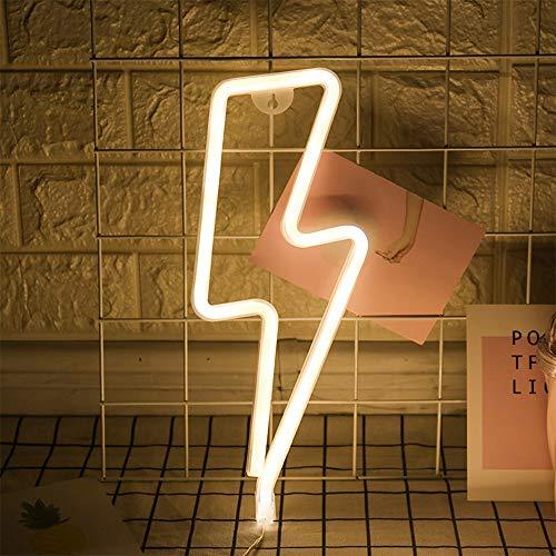 LED-Blitz Zeichen formten Dekor-Licht-warmes Weiß Neon-Wand-Licht-Wand-Dekor-Blitz Neonlichter Batterie/USB Powered Nachtlicht für Weihnachten Kinderzimmer Wohnzimmer Hochzeit Dekor