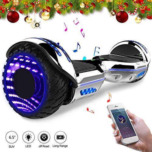 elettrico auto bilanciamento con LED su ruote- Bluetooth e altoparlante (Argento)