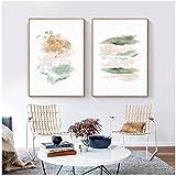 QIAOO Pintura de Lienzo Abstracta Pastel Rosa y Dorado, póster nórdico Impreso, imágenes artísticas de Pared, decoración del hogar del Dormitorio sin Marco