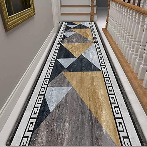 LHYZF Geometry Modern Geometry Tapis Runner Cuisine Cuisine Tapis Longue Tapis, Polyester Tapis Portables antidérapants pour escaliers 1m/1.5m/2m/2.5m/3m/3.5m/4m/4.5m/5m/5.5m/6m Hallway Tapisser