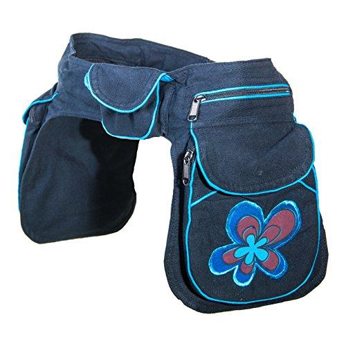 KUNST UND MAGIE Doppel Bauchtasche Sidebag Gürteltasche Festivaltasche, Farbe:Schwarz/Blau