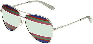 Salvatore Ferragamo SF172SL Shiny Silver/Mint/Light Green/Stripes One Size