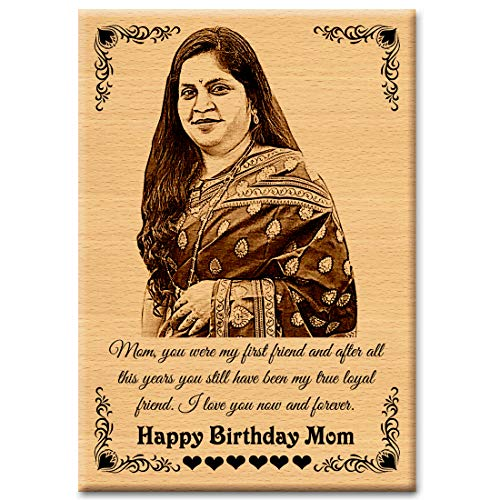 GFTBX Unique Gift Ideas for Mother's Birthday - Customized Photo Frames with Photo | Engraved Wooden Photo Plaque - Best Gift for Mom Birthday | Surprise Personalized gifts For Mommy (7x5in, Wood)