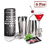 Cocktail Set, Godmorn Boston Cocktail Shaker, Professioneller Cocktailshaker Set 4-Teiliges, Mixer Shaker, Sieb, Strohhalme, Messbecher, Hause Bar Set, Geschenk Box mit Cocktail Taschenbuch
