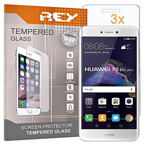 REY 3X Protector de Pantalla para Huawei P8 Lite (2017), Cristal Vidrio Templado Premium