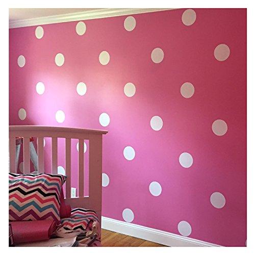 Pink White Polka Dot Circles Wall Decals