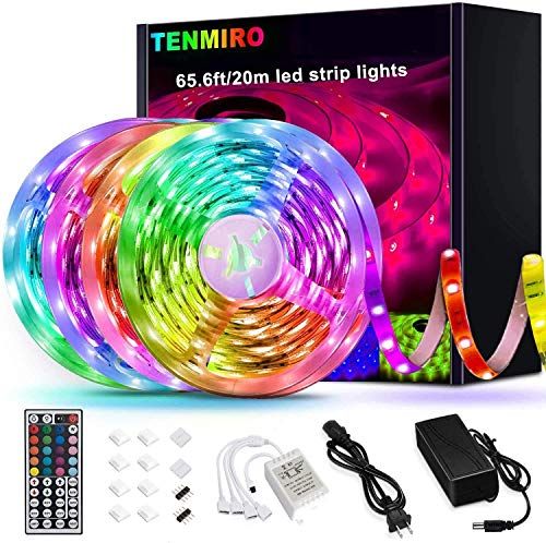 Tenmiro 65.6ft Led Strip Lights, Flexible Color Changing LED Light Strips Kit with 44 Keys Ir Remote Led Lights for Bedroom, Kitchen, Home Decoration