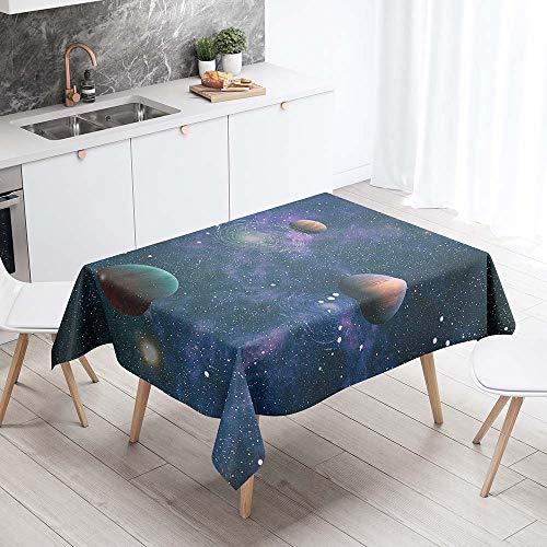 Enhome Manteles de Poliéster Rectangular Mantel Rectangular Impermeable Antimanchas Nórdico Moderno Mantel Decorativo para mesas rectangulares Cocina Comedor (Universo púrpura,140x160cm)