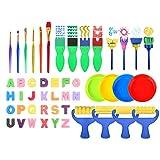 Puseky Juego de pintura para niños de aprendizaje temprano, 48 piezas de pinceles de pintura de esponja para niños, herramientas de pintura de acuarela para pintura temprana