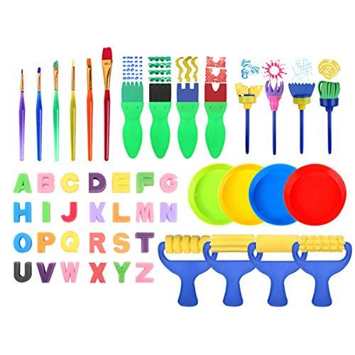 Yunnyp 48stks Spons Schilderpenselen Set Aquarel Tekening Verf Gereedschap voor Peuters Kinderen Vroeg Schilderen