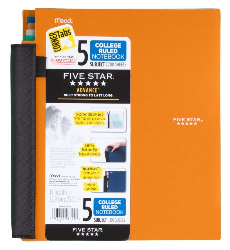 Five Star Notebook, 5-Subject, College Ruled, 200 Sheets, 8-1/2 x 11 Inches, Assorted (8192) Photo #4