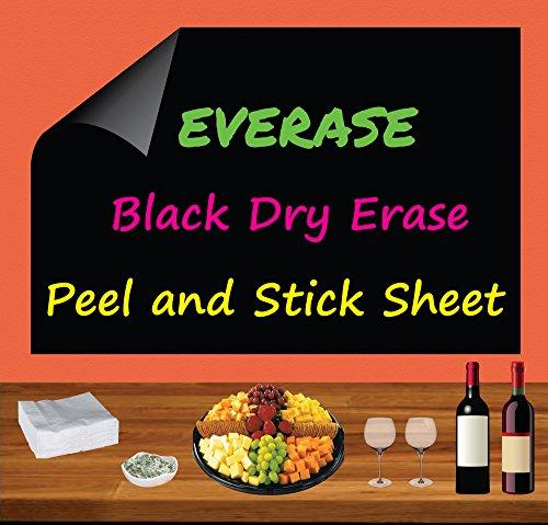 Everase Re-Stic Black Dry Erase Self-Adhesive Peel & Stick Sheet, (12 x 18 in.) Free Chalk/Fluorescent Marker & Cloth | Premium Quality Removable Decal/Sticker | Walls, Doors, Desks, Refrigerators
