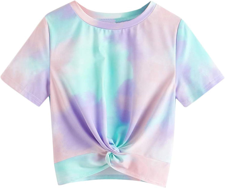 Floerns Girls Tie Dye Twist Front Short Sleeve Round Neck T Tee Shirts Top