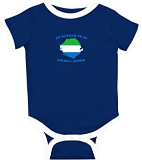I'd Rather Be in Sierra Leone Cotton Short Sleeve Crewneck Unisex Baby Soccer Bodysuit Sports Jersey - Royal Blue, 6 Months