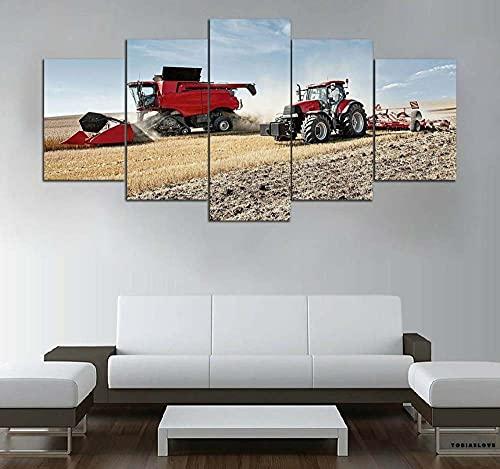 WKXZZS Lienzo Giclée de Pared Art Imagen para decoración del hogar Tractor en la Granja Panel de 5 Piezas de Arte Moderno. Ideal para Decorar el salón