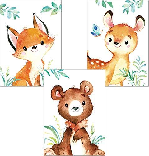 LALELU-Prints   A4 Bilder Kinderzimmer Poster   Zauberhafte Wald-Tiere   Babyzimmer Deko Junge Mädchen   3er Set Kinderbilder (DIN A4 ohne Rahmen)