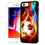 for iPhone 6 Plus, iPhone 6S Plus, Durable Protective Soft Back Case Phone Cover, NiceTEK HOT12366 Flame Football Soccer 12366