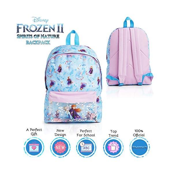 510fGtamYjL. SS600  - Disney Frozen 2 Mochila Escolar Infantil Para Niñas Adolescentes, Princesas Disney Anna Elsa, Mochilas Escolares Juveniles Bolsillo Delantero Confeti Brillante, Regalos Para Niños Colegio Viaje