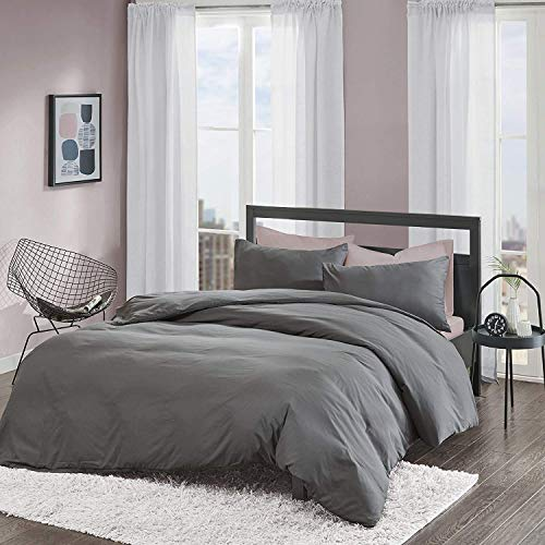 Non-Iron Plain Brushed Duvet Cover Set Single Size - 2 Pcs Ultra Soft Hypoallergenic Microfiber Quilt Cover Sets - Grey
