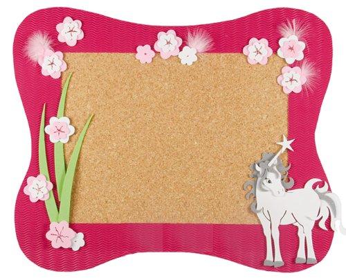 alles-meine.de GmbH Bastelset Pinnwand Kork - Einhorn Pferd - Korkplatte mit 6 Pins - Wandtafel Pinboard für Kinder Mädchen Einhörner Blumen