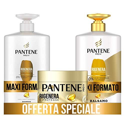 Pantene Pro-V Shampoo Rigenera & Protegge per Capelli Deboli o Danneggiati, Maxi Formato da 1000 ml + Balsamo 900 ml + Maschera 300 ml
