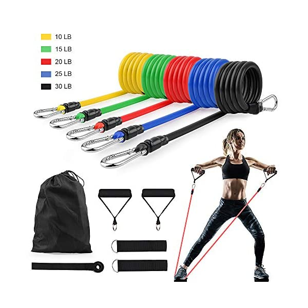 CoutureBridal 11 Pack Resistance Bands Set, Exercise Elastic Bands,Portable Home Workouts Accessories for Resistance Training Gym Physical Therapy Yoga Pilates