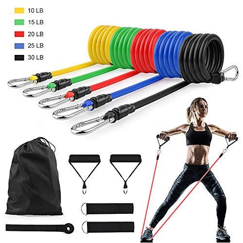 GOAMZ 11 Pack Fitnessband Set Resistance Bands mit 5 Widerstandsbänder Set/Gymnastikband, 2 Griffe, 2 Knöchelriemen, 1 Türanker und 1 Tragetasche, für Expander/Krafttraining/Home Gym/Yoga/Anfänger