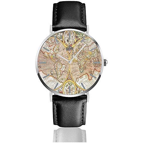 Reloj Mapamundi Antiguo Relojes de Pulsera Personalizados Cuarzo Acero Inoxidable y Cuero de PU