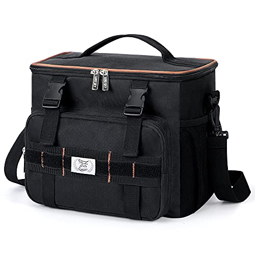 Lekesky Lunch Bag for Men Insulated Lunch Box with Molle, Leakproof Lunch Cooler Tactical Lunch Tote Bag for Adult Work Office Travel, 24-Can (15L), Black