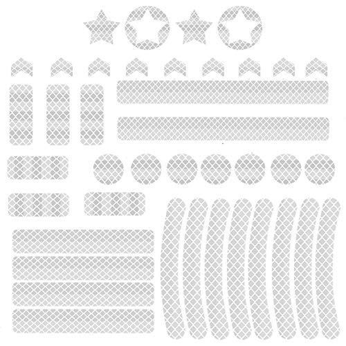 PROGARMENTS 42 Stück Fahrrad Reflektierende Aufkleber, Reflektor Aufkleber Set Fahrrad Aufkleber Reflektor Sticker für Fahrrad Motorrad Kinderwagen Auto