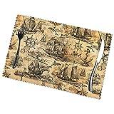 Manteles individuales, viejos veleros, tiburones, volantes, juego de 6 para mesa de comedor, resistentes al calor, lavables, limpiables, fáciles de limpiar para comedor, cocina, 12 x 18 pulgadas