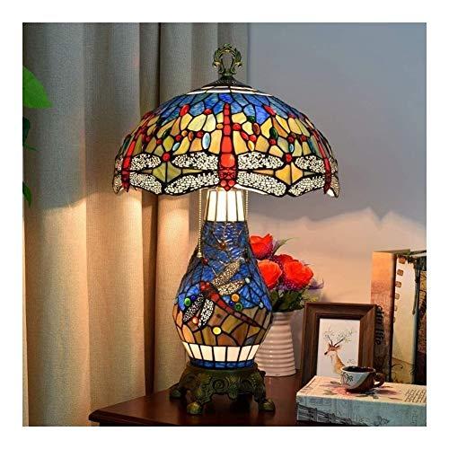 LILIS lámpara de escritorio lámpara de mesa, rojo libélula Tiffany elegante lámpara de escritorio 16 pulgadas, cabecera de la noche sala de estar dormitorio oficina mesa luz