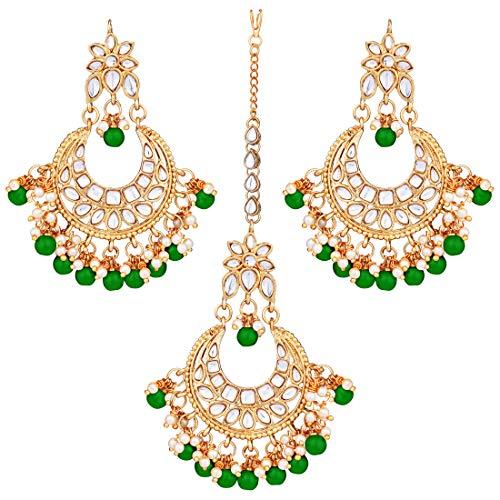 Aheli Faux Kundan Studded Wedding Party Jhumka Jhumki Earrings Maang Tikka Indian Bollywood Fashion Jewelry Set for Women (Green)