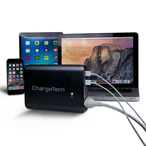 - External Power Bank Charger for MacBooks Portable AC Outlet Battery Pack by ChargeTech 27000mAh 85W // 110V Laptops Cameras CPAP Machines Camping TSA Approved for Airline Travel BLACK