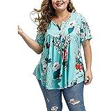 Blusas de Mujer con Cuello en V y Botones de túnica, Camisetas de Verano de Manga Corta y Tallas Grandes