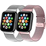 Mugust - Lote de 2 pulseras para Apple Watch (38 mm, 40 mm, 42 mm, 44 mm, acero inoxidable, repuesto compatible con iWatch Series 6, 5, 4, 3, 2, 1 SE (05 plateado y rosa, 38 mm y 40 mm)