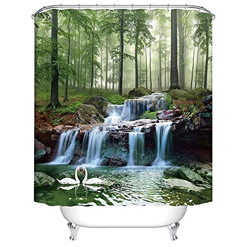 Duschvorhang 200x200 cm Antischimmel Wasserdicht Verdicken Duschvorhänge Schwan 3D Digitaldruck mit 12 Weiß Duschvorhangringen für Dusche in Badezimmer