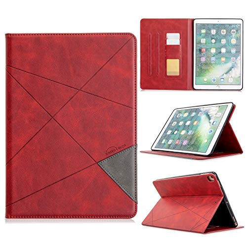 ZHIWEI Tablet PC Bag Vertical Prismatic Tablet Case Suitable for IPAD PRO 10.2 10.5 2017/2019 Case. Advanced PU Leather Case With Automatic Wake-up/sleep Function [with Card Slot] (Color : Red)