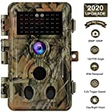 Game Trail Camera No Glow 20MP 1080P H.264 MP4/MOV Video Night Vision 0.1S Trigger Motion Activated Easy Operate Waterproof Wildlife Hunting Deer Cam Password Protected Photo & Video Model Time Lapse